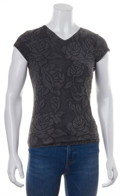 GIORGIO ARMANI Charcoal Gray Abstract Floral Print V-Neck Blouse Top