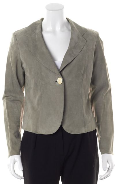 GIORGIO ARMANI Gray Suede Basic One Button Blazer Career Jacket