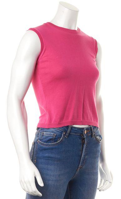 GIORGIO ARMANI Pink Cotton Sleeveless Shrunken Knit Top