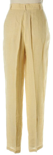 GIORGIO ARMANI Yellow Linen High Rise Slim Straight Trousers Pants