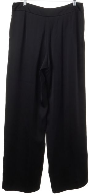 GIORGIO ARMANI Black Silk Satin High Rise Wide Leg Dress Pants