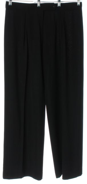 GIORGIO ARMANI Black Wool Pleated Trouser Dress Pants
