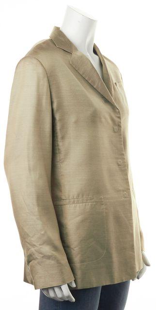 GIORGIO ARMANI Beige Textured Silk Blazer Jacket