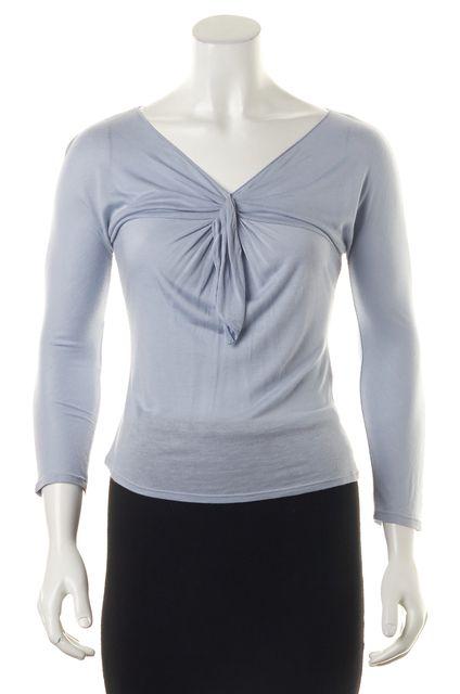 GIORGIO ARMANI Blue V-Neck Slim Fit Knit Top