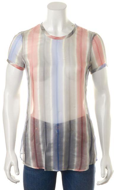 GIORGIO ARMANI Pink Blue Gray Striped Silk Sheer Blouse Top