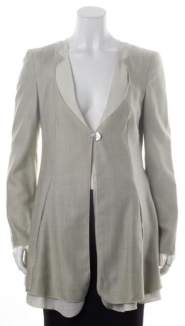 GIORGIO ARMANI Beige Black Wool One Button Long Blazer Basic Jacket