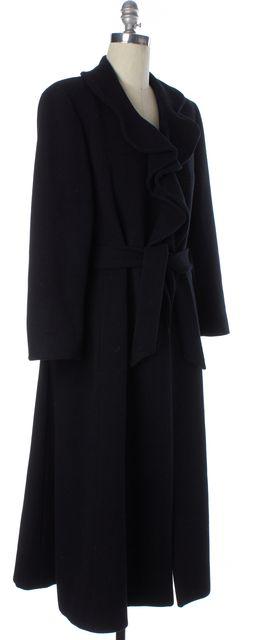 GIORGIO ARMANI Black Wool Belted Long Winter Coat