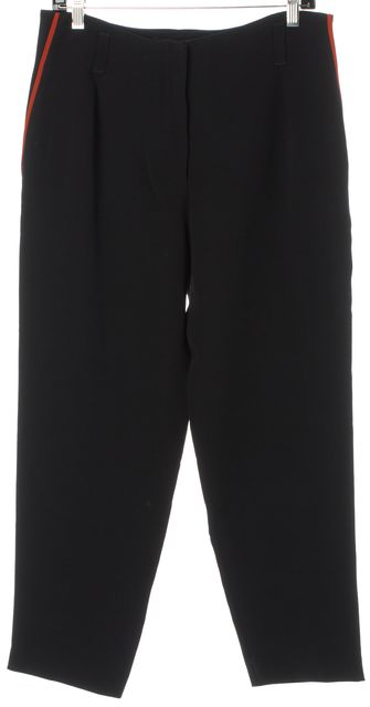 GIORGIO ARMANI Black Red Silk Cropped Relaxed Fit Career Dress Pants