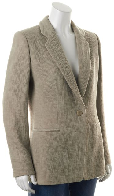 GIORGIO ARMANI Beige WoolKnit One Botton Notch Lapel Blazer Jacket