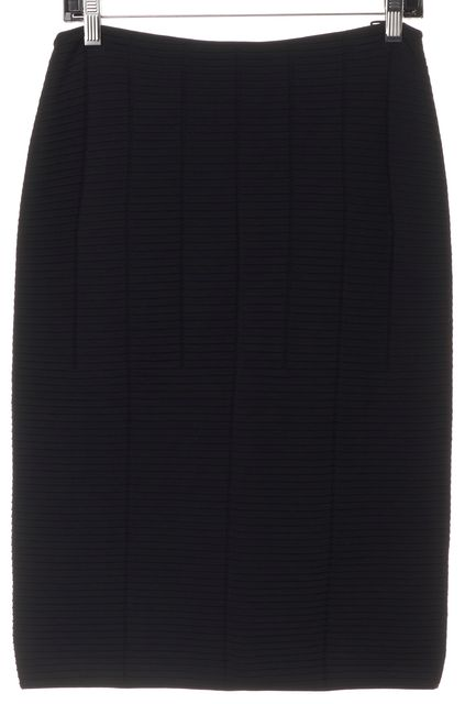 GIORGIO ARMANI Black Ribbed Knee Length Pencil Skirt