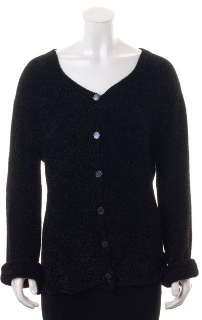 GIORGIO ARMANI Black Metallic Knit Button Front Cardigan Sweater