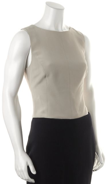 GIORGIO ARMANI Gray Sleeveless Cropped Blouse Top
