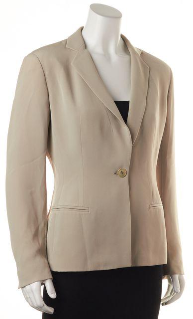 GIORGIO ARMANI Beige One Button Notch Lapels Blazer Jacket
