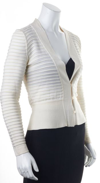 GIORGIO ARMANI Ivory Semi Sheer Panels Long Sleeve V-Neck Cardigan