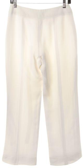 GIORGIO ARMANI Ivory Silk Trouser Dress Pants