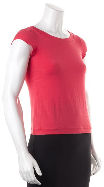 GIORGIO ARMANI Pink Basic Boat Neck Cap Sleeve Tee T-Shirt