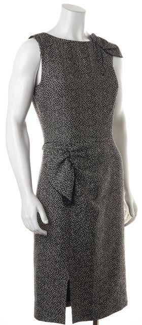 GIORGIO ARMANI Black White Abstract Silk Sheath Dress