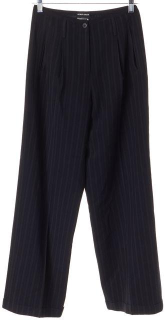 GIORGIO ARMANI Blue Wool Striped Wide Leg Trousers Dress Pants