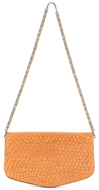 GIORGIO ARMANI Orange Snake Embossed Leather Mini Shoulder Bag