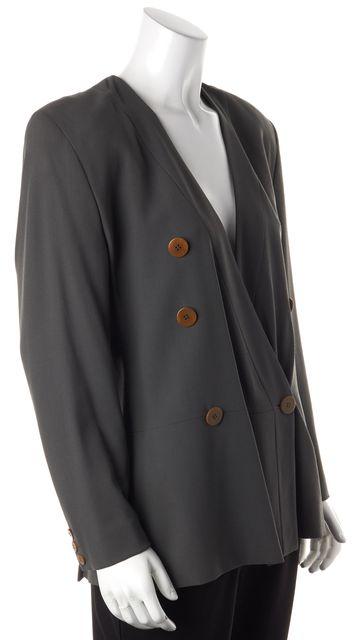 GIORGIO ARMANI Green Wool Button Over Blazer US 6 IT 42
