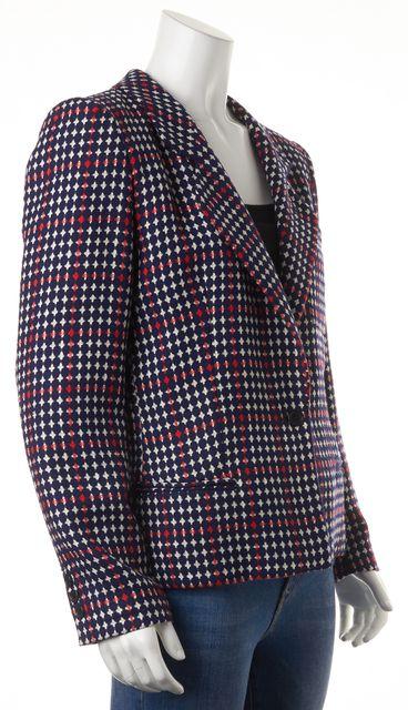 GIORGIO ARMANI Blue Colorblock Geometric Wool Blazer US 6 IT 42