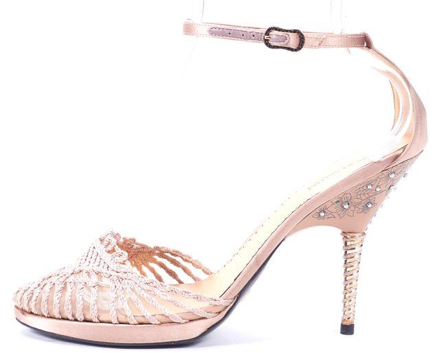 GIORGIO ARMANI Powder Pink Crystal Embellished Floral Satin Heels