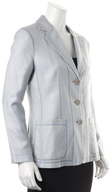 GIORGIO ARMANI Blue White Silk Woven Check Three Button Blazer