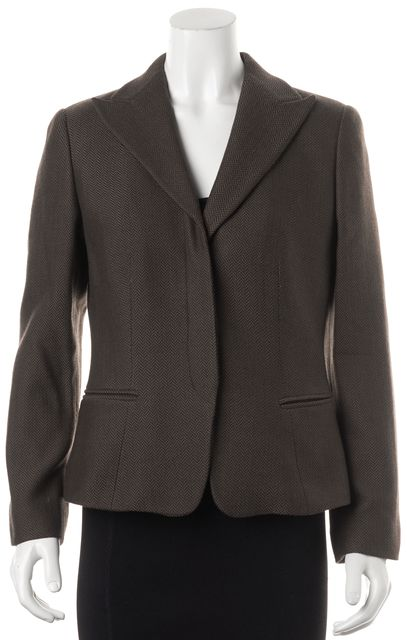GIORGIO ARMANI Brown Herringbone Wool Hidden Closure Blazer