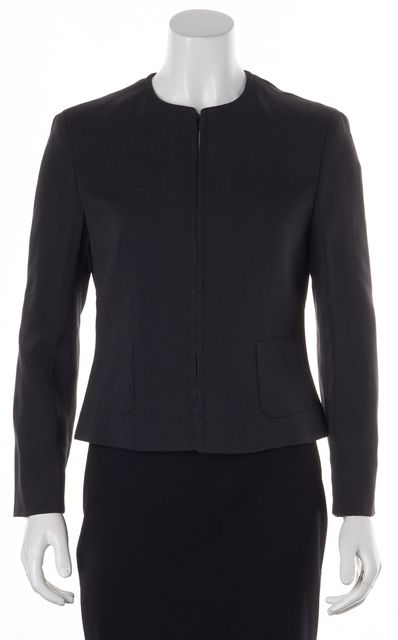 GIORGIO ARMANI Black Basic Viscose Blend Buttoned Jacket