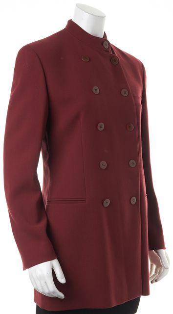 GIORGIO ARMANI Burgundy Red Wool Double Breasted Basic Jacket