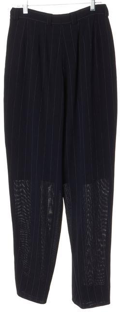 GIORGIO ARMANI Blue Pinstripe Straight Leg Dress Pants