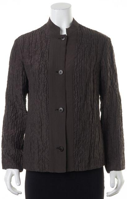 GIORGIO ARMANI Brown Textured Silk Button Front Blouse Top