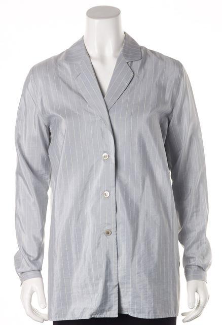 GIORGIO ARMANI Blue Cotton Silk Striped Button Down Shirt