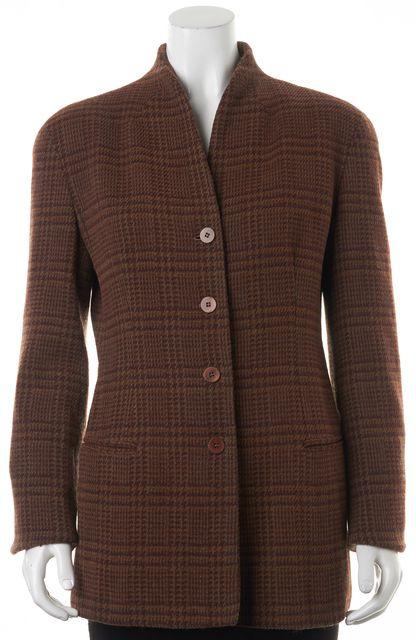 GIORGIO ARMANI Brown Plaids & Checks Basic Button Front Jacket