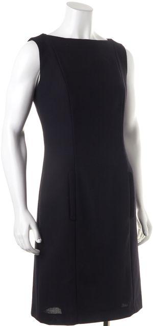 GIORGIO ARMANI Black Sleeveless Pocket Front Wool Sheath Dress