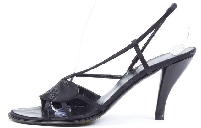 GIORGIO ARMANI Black Floral Embroidered Satin Sandal Slingback Heels