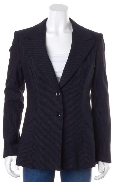 GIORGIO ARMANI Navy Blue Pinstriped Wool Two Button Blazer Jacket