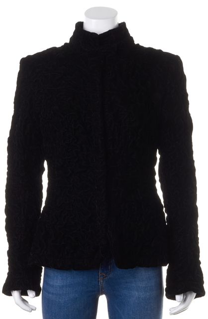 GIORGIO ARMANI Black Ruched Textured Velvet Snap Button Down Jacket