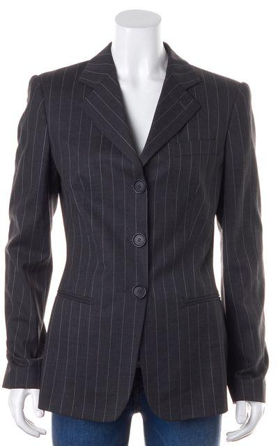 GIORGIO ARMANI Gray Pinstriped Wool Three Button Blazer Jacket