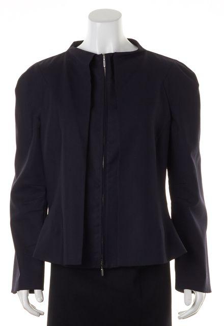 GIORGIO ARMANI Navy Blue Plaid Wool Faux Layered Basic Jacket
