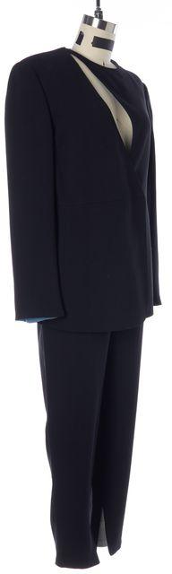 GIORGIO ARMANI Black Wool Silk Cutout Blazer Pant Suit Suit Set