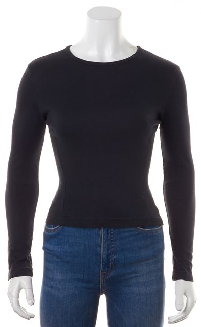 GIORGIO ARMANI Black Long Sleeve Casual Fitted Top