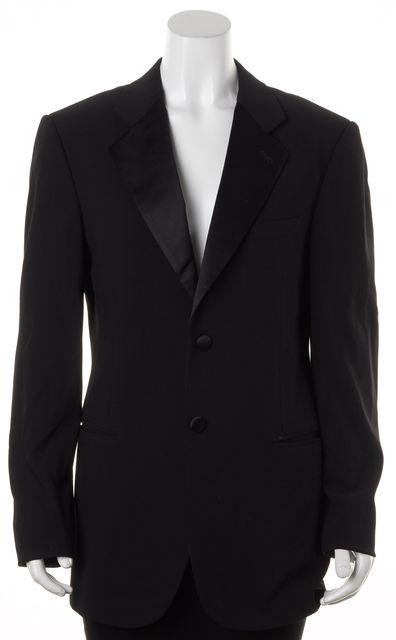 GIORGIO ARMANI Black Wool Satin Lapel Two-Button Blazer