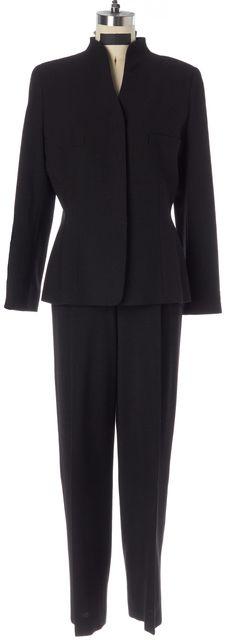 GIORGIO ARMANI Metallic Black Shimmer Collarless Blazer Pant Suit Set