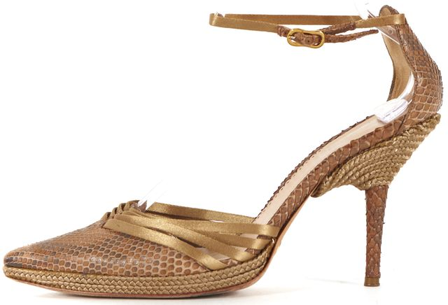 GIORGIO ARMANI Brown Green Snake Skin Leather Pointed Toe Heels