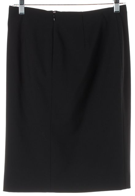 GIORGIO ARMANI Black Wool Silver Button Faux Wrap Pencil Skirt