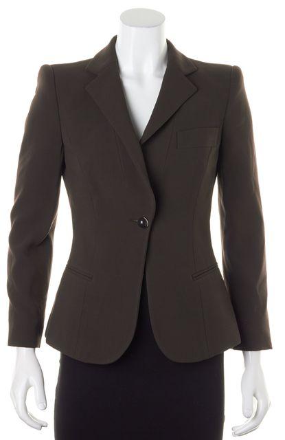GIORGIO ARMANI Chocolate Brown Wool Single Button Blazer