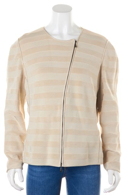 GIORGIO ARMANI Beige Ribbed Striped Basic Zip-Up Jacket