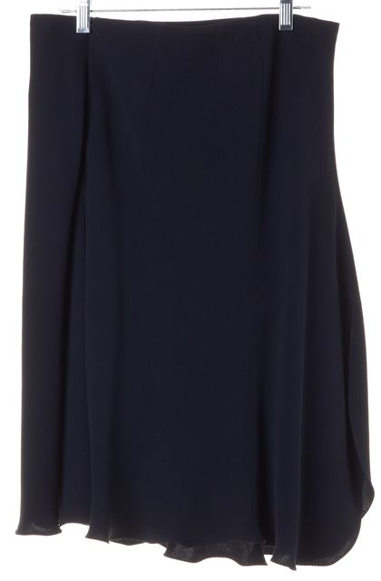 GIORGIO ARMANI Navy Blue Silk Knee-Length A-Line Skirt