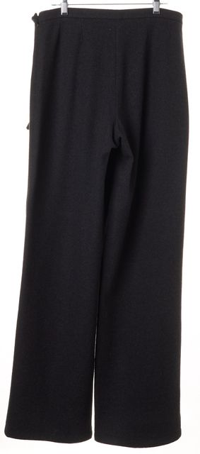 GIORGIO ARMANI Gray Wool High Waisted Wide Leg Trouser Dress Pants